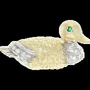 Diamond & Emerald Duck Brooch - 14k Yellow Gold Round Brilliant .16ctw
