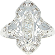 Art Deco Filigree Ring - 18k White Gold Diamond Accents Vintage Size 3 1/2