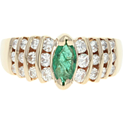 Emerald & Diamond Ring - 14k Yellow Gold Marquise Brilliant .95ctw