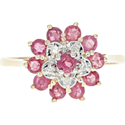 Ruby & Diamond Cluster Halo Ring - 14k Yellow Gold Round Brilliant .78ctw