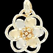 Italian Flower Blossom Pendant - 14k Yellow Gold Brushed Finish