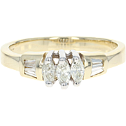 Diamond Engagement Ring - 14k Gold Three-Stone with Accents Marquise .50ctw
