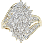Diamond Cluster Bypass Ring - 10k Yellow Gold Single Cut & Baguette .25ctw