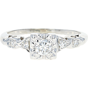 Vintage Diamond Engagement Ring - 14k White Gold Round Cut .29ctw