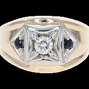 Diamond & Sapphire Ring - 14k Yellow Gold Men's Round Cut .54ctw
