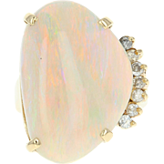 Opal & Diamond Cocktail Ring - 18k Yellow Gold Size 7 Women's 15.86ctw