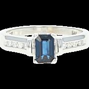 Sapphire & Diamond Engagement Ring - 14k White Gold Emerald Cut .82ctw