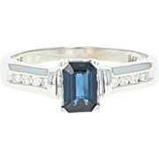 Sapphire & Diamond Engagement Ring - 14k White Gold Emerald Cut .82ctw
