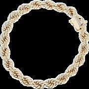"Rope Chain Bracelet 6 1/2"" - 14k Yellow Gold Box Clasp Women's Gift"