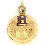Vintage Harvard Basketball Charm - 10k Yellow Gold Enamel 1933
