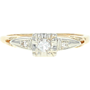 Vintage Diamond Engagement Ring - 14k Yellow Gold Round Cut .10ctw