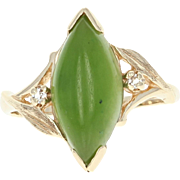 Nephrite Jade Bypass Ring - 10k Yellow Gold Marquise Cabochon