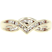 Diamond Ring - 10k Yellow Gold Women's Size 6 1/2 Single Cut .15ctw
