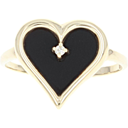 Simuated Onyx & Diamond Ring - 10k Yellow Gold Heart Shape Gift