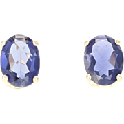 Iolite Oval Stud Earrings Yellow Gold 14k Gift 2.40ctw