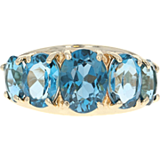 London Blue Topaz Ring - 10k Yellow Gold Five-Stone Oval Brilliant 4.70ctw