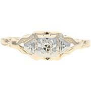 Art Deco Diamond Engagement Ring - 14k Yellow Gold Vintage Size 9 3/4