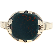 Edwardian Bloodstone Ring - 10k Yellow Gold Women's Size 7