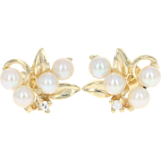 Cultured Pearl & Diamond Stud Earrings - 14k Yellow Gold Botanical Pierced
