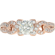 Diamond Engagement Ring - 14k Rose Gold & Platinum Round Cut 1.01ctw