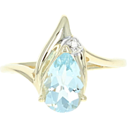 Aquamarine Bypass Ring - 10k Yellow Gold Diamond Accent Pear Brilliant 1.25ct