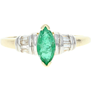 Emerald & Diamond Ring - 10k Yellow Gold Marquise Cut .67ctw