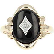 Vintage Onyx Ring - 10k Yellow Gold Diamond Accent Size 5 3/4