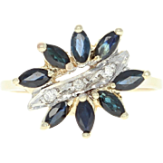 Sapphire & Diamond Floral Bypass Ring -14k Yellow Gold Marquise Brilliant .94ctw