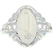 Initial C Signet Ring White Gold 10k Diamond Accented Flourish Women's Gift