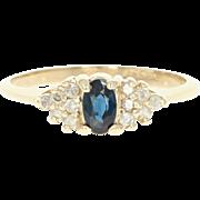 Sapphire & Diamond Ring - 14k Yellow Gold Oval Brilliant .44ctw