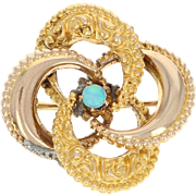 Victorian Opal Brooch Pin Yellow Gold 10k Flower Vintage Women's Gift October