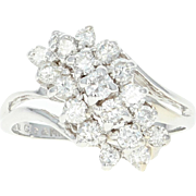 Tiered Diamond Bypass Ring - 14k White Gold Round Brilliant Cut 1.00ctw