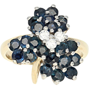 Sapphire & Diamond Clover Ring - 14k Yellow Gold Cluster Round Brilliant 2.90ctw