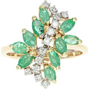Emerald & Diamond Bypass Ring - 14k Gold Cluster Marquise Brilliant 1.09ctw