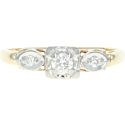 Vintage Diamond Engagement Ring - 14k Yellow Gold Round Brilliant .18ctw