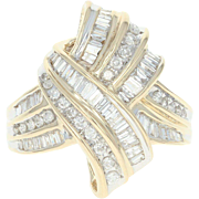 Diamond Bypass Ring - 14k Yellow Gold Baguette & Round Brilliant 1.00ctw