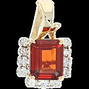 Spessartite Garnet & Diamond Enhancer Pendant - 14k Yellow Gold 4.47ctw