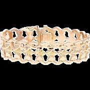"""Retro Link Bracelet 7 1/4"""" - 18k Rose Gold Textured Women's Vintage"""