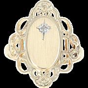 Diamond Filigree Signet Ring - 10k Yellow Gold Engravable Women's Gift
