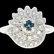 Vintage Sapphire & Diamond Ring - 14k White Gold Halo-Style .41ctw