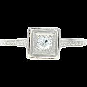 Art Deco Diamond Engagement Ring - Platinum Vintage Solitaire European Cut .17ct