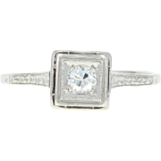 Art Deco Diamond Engagement Ring - Platinum Vintage Solitaire European Cut .17ct