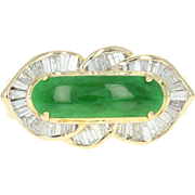Jadeite Jade & Diamond Halo Ring - 18k Yellow Gold High Quality Cabochon .60ctw