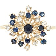 Sapphire & Diamond Cluster Ring - 14k Yellow Gold Round Brilliant 1.00ctw