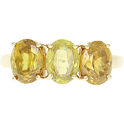 Three-Stone Sphene Ring - 10k Yellow Gold Size 9 Oval Brilliant 4.90ctw