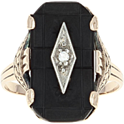 Art Deco Onyx Ring - 10k Yellow Gold Diamond Accent Etched Vintage Size 6 1/2