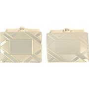 Etched Geometric Cufflinks - 10k Yellow Gold Men's Gift