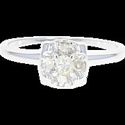 Vintage Diamond Engagement Ring - 14k White Gold Round Brilliant .23ctw