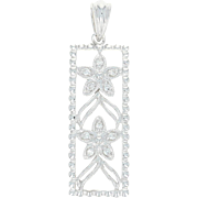 Floral Lattice Pendant - 14k White Gold Milgrain Diamond Accents