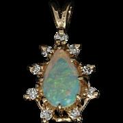 Opal & Diamond Pendant - 14k Yellow Gold Halo Cabochon .49ctw
